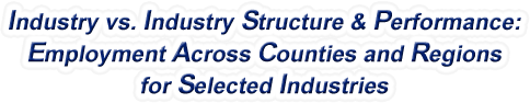 Connecticut - Industry vs. Industry Structure & Performance: Employment Across Counties and Regions for Selected Industries